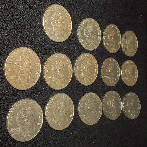 paquete monedas de 5 pesos de 1971