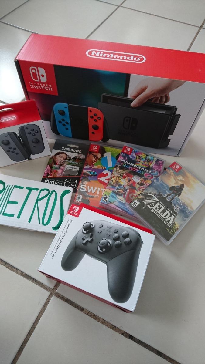 Paquete Nintendo Switch Neon Controles Juegos Memoria
