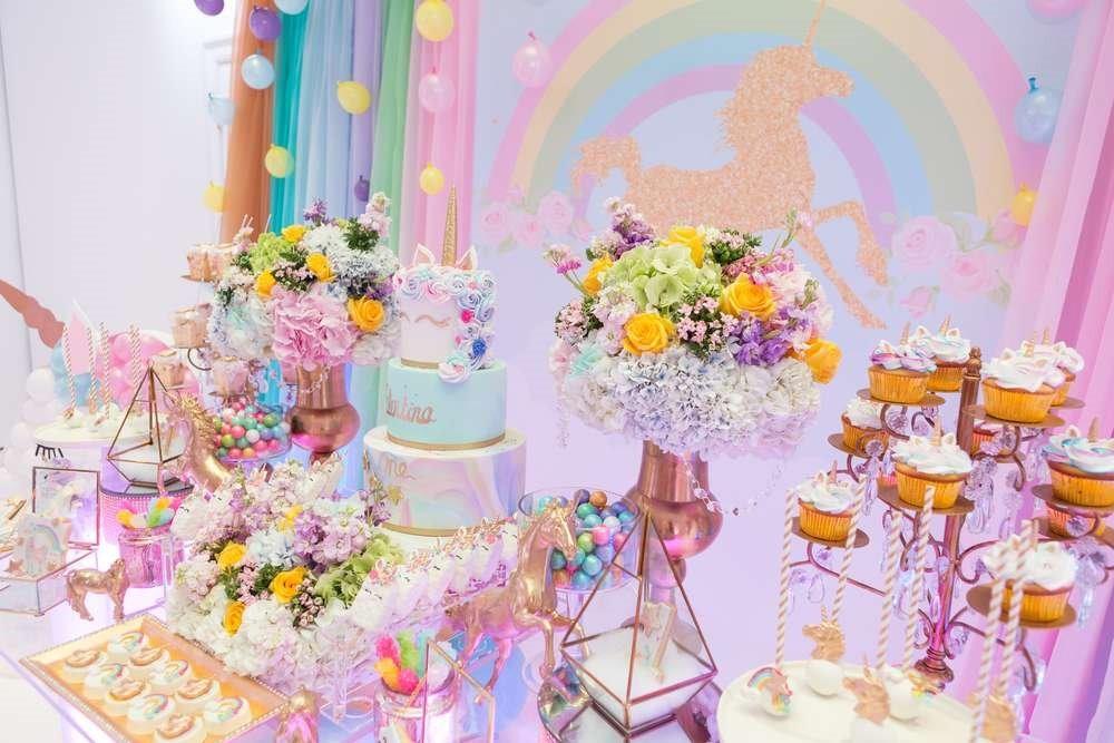 Paquete oro unicornio decoraci n fiesta pastel arcoiris for Decoracion para la pared de unicornio