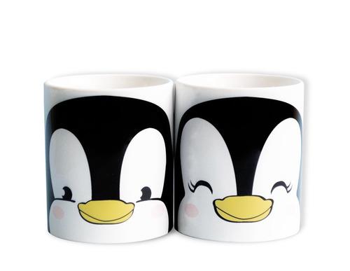 paquete pareja 2 playeras + 2 tazas pingüino tornasol