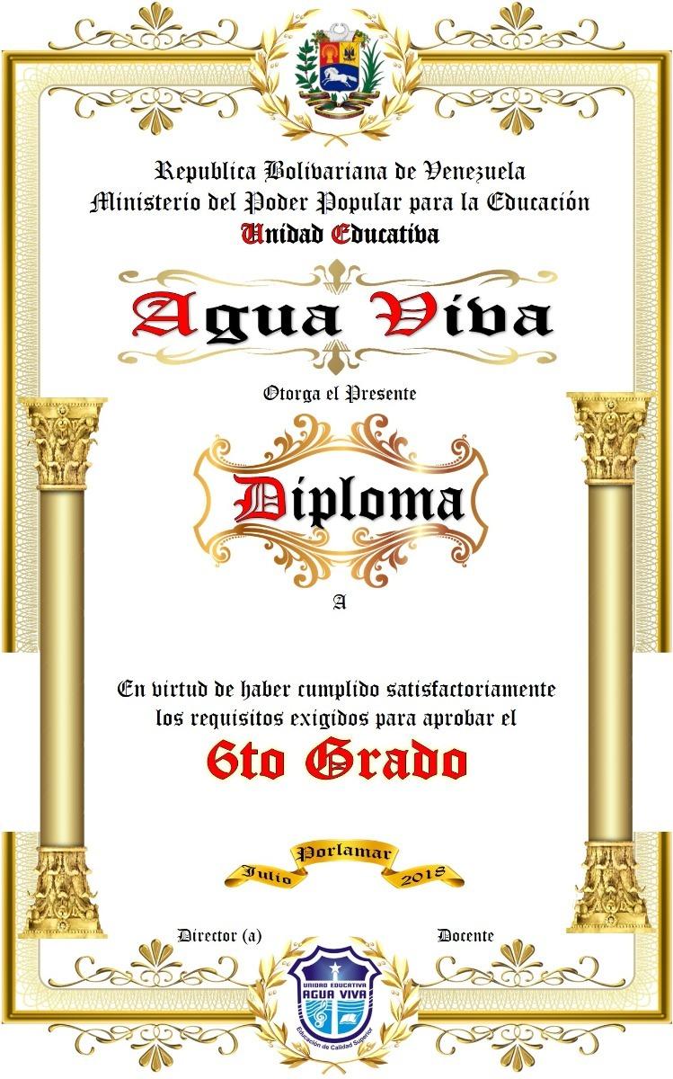 paquete sexto preescolar medalla  diploma pergamino
