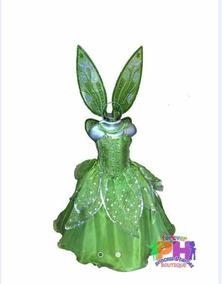 Paquete Vestido Disfraz Campanita Tinkerbell Con Zapatillas
