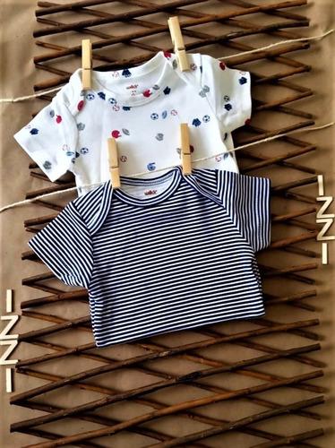 paquete x 2 bodys blanco estampado y azul rayas blancas