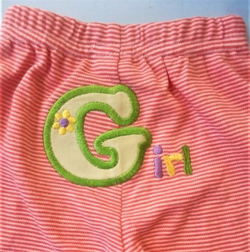 paquete x 2 leggings o pantalónes con rayas rojas y flores