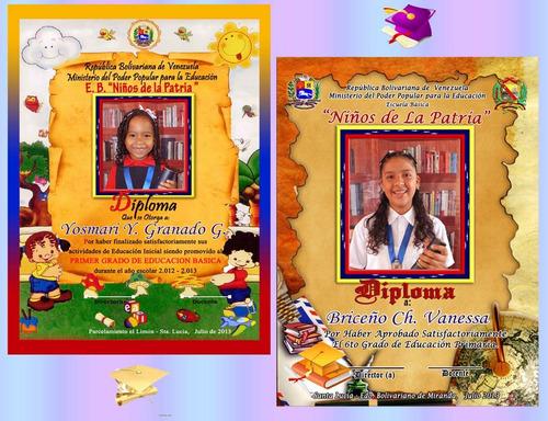 paquetes de graduación, diplomas, medallas, boton, fotos.