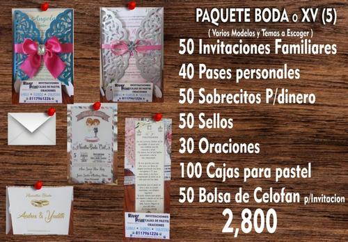 paquetes de invitaciones para bodas o xv años