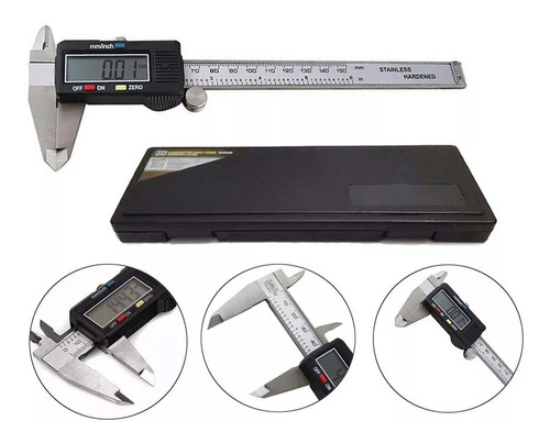 paquímetro digital aço + estojo original 150 mm mtx