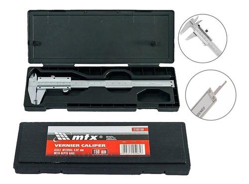 paquimetro manual universal analogico 150mm aço inox mtx