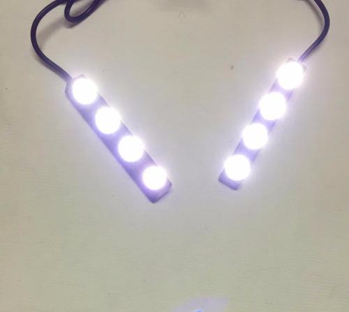 par 2 faro barra de 4 leds 12v 6w luz blanca moto auxiliar