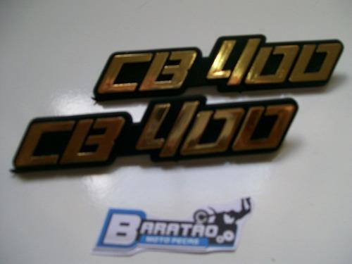 par (2 peças) emblema tampa lateral honda cb 400 dourado
