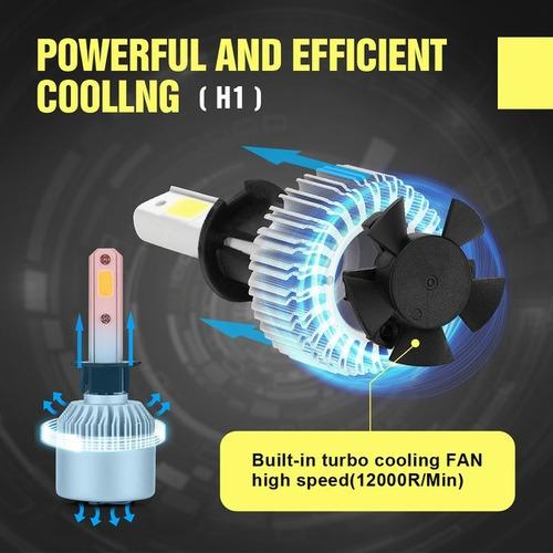 par 2 super led 2d h4 72wts 8200lm 6000k cooler efeito xênon