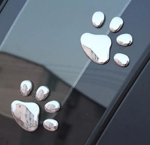 par adesivo patinha 3d cromado pata cão dog gato cachorro