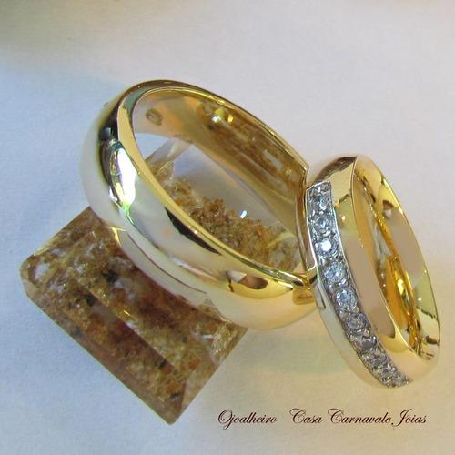 par aliança 10 pedras anatômica ouro 18k banho 2059 confiaça