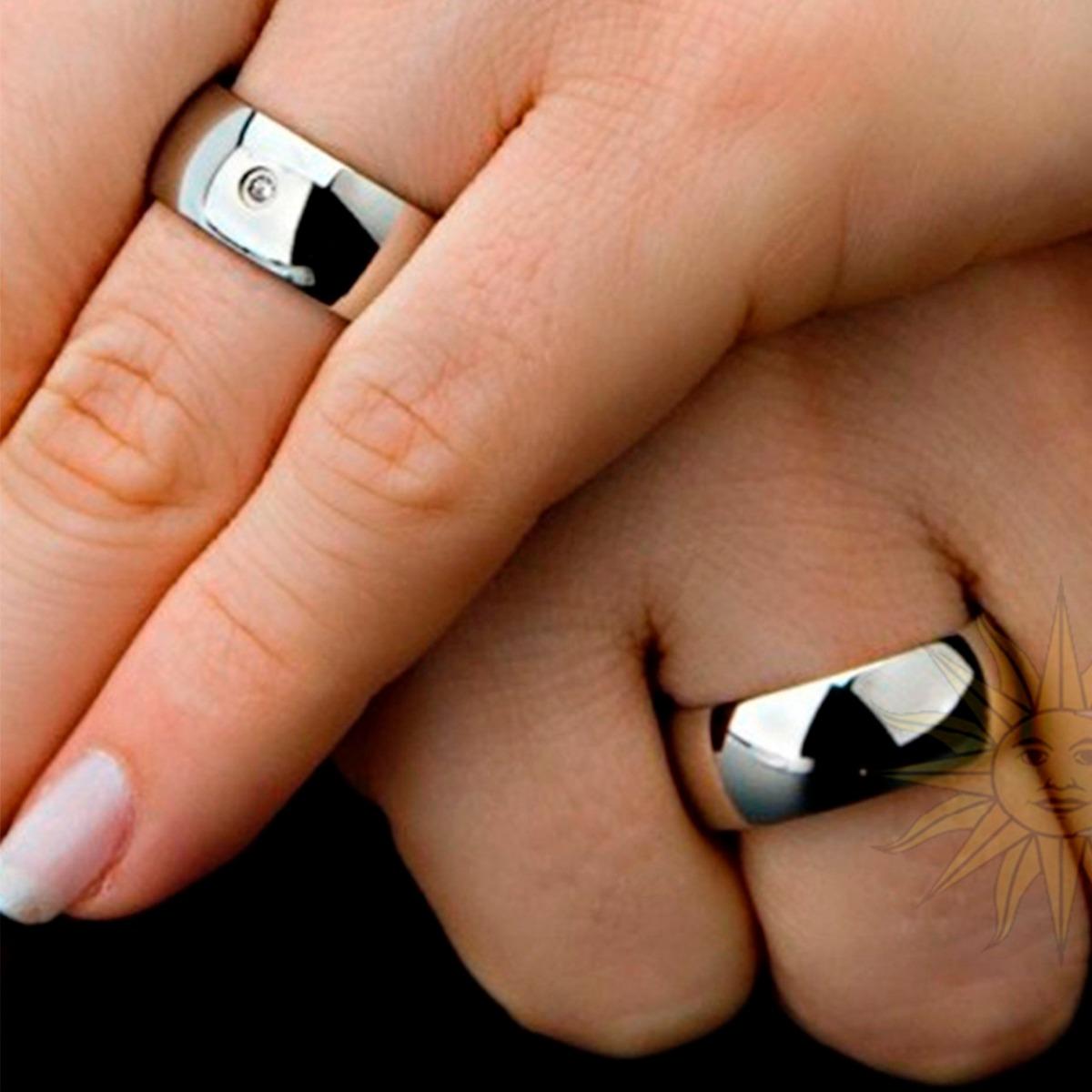 91da15916e9 par aliança anel compromisso noivado aço inox 316l prata 8mm. Carregando  zoom.