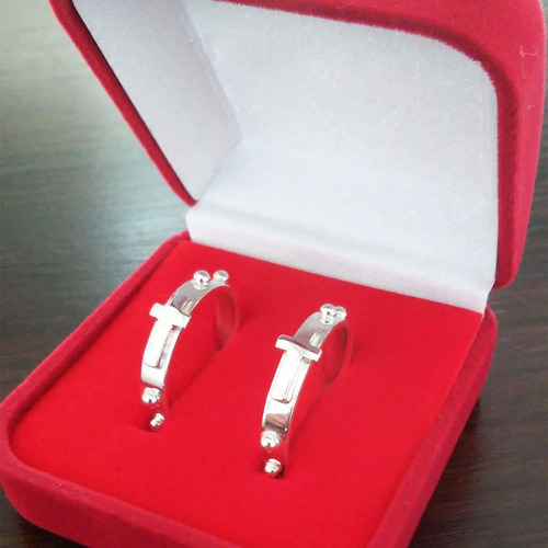 par aliança anel de prata 925 terço bolinha pai nosso