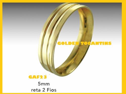 par aliança de casamento folheado a ouro 24k 5mm ret