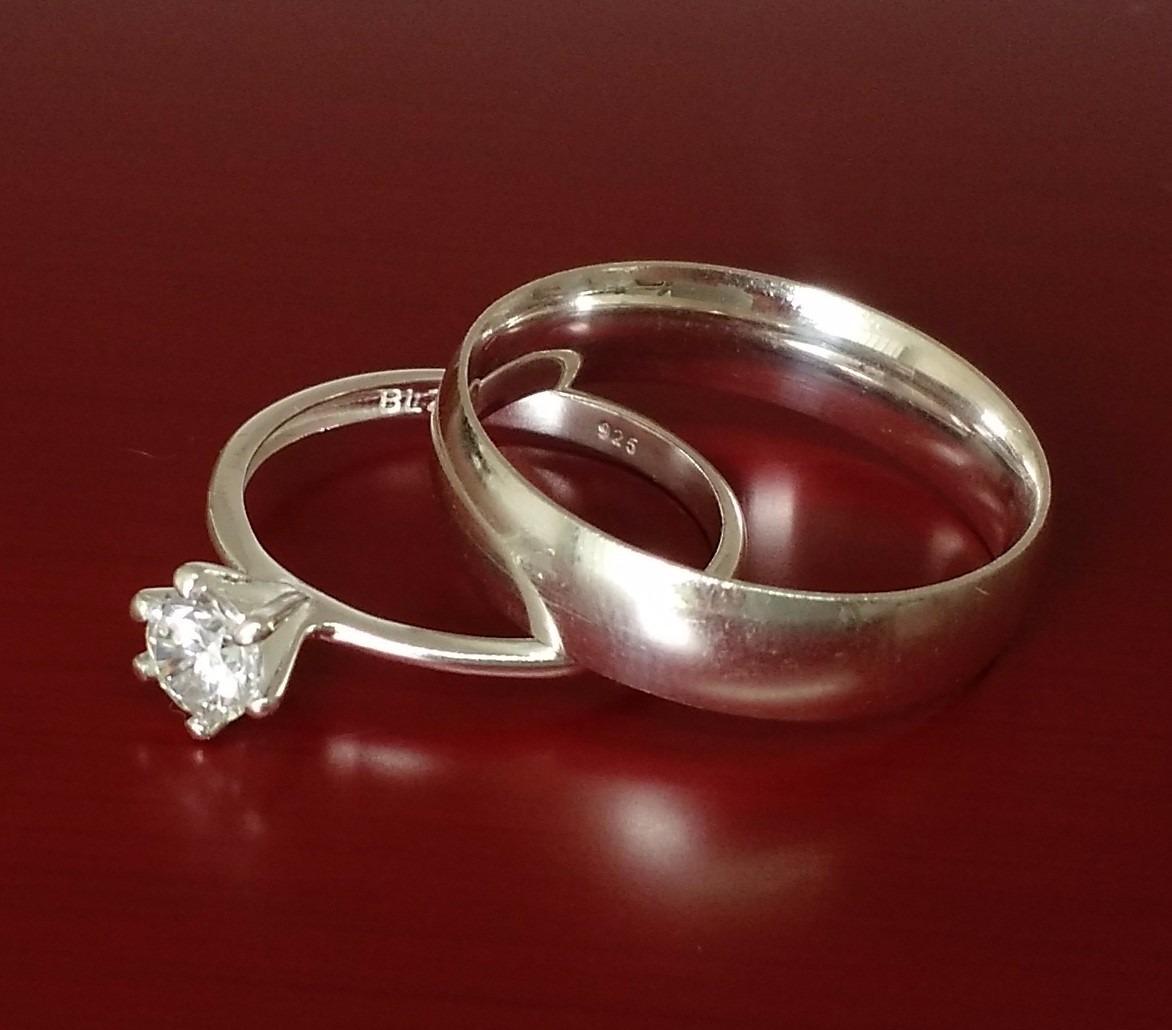 e2b6d79be87 par aliança e anel solitário feminino masculino prata maciça. Carregando  zoom.