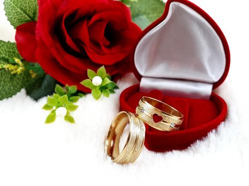 par aliança namoro coração vazado dourada noivado m550