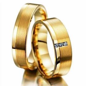 Par Aliança Ouro 18k 750 4mm 5grs Reta 3 Brilhante Casamento