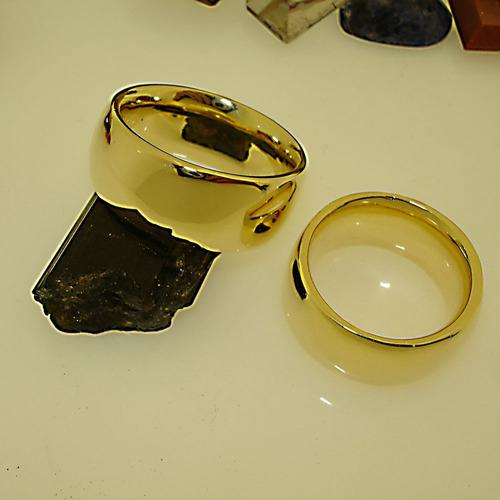 par aliança ouro banho 18k 10mm anatômica cód 245 ojoalheiro