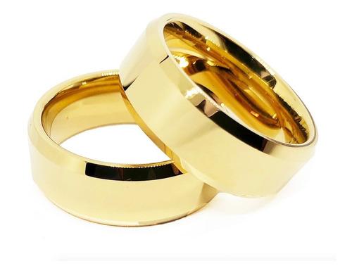 par aliança tungstênio 8mm borda chanfrada banhada ouro 18k