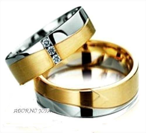 par alianças 11 grs ouro18k diamantes frete nf 12x sem juros