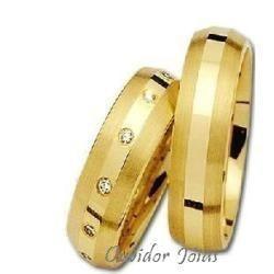 par alianças 12 grs ouro 18k/ 750 diamantes frete nota fisca