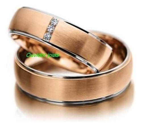 par alianças 14 grs ouro rosê 18k diamantes 12 x sem juros!!