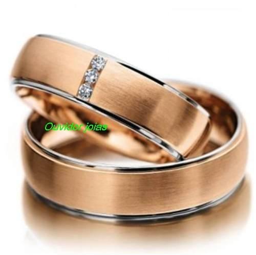 par alianças 14 grs ouro rosê 18k diamantes frete grátis