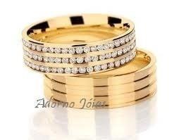 par alianças 28 grs ouro 18k diamantes frete 12 x sem juros!