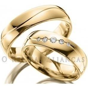 par alianças 8 grs ouro18k diamantes 12 x sem juros lindas!
