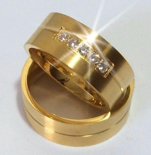 par alianças 9 grs ouro18k/ 750 diamantes frete nota fiscal