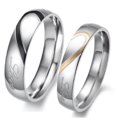 par alianças anéis banhado ouro branco coração