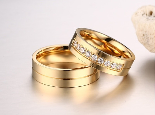 par alianças anel  6mm titânio banhado a ouro 18k