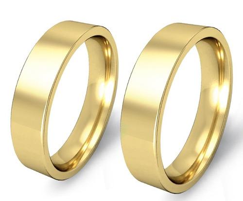 par alianças em ouro 18k 5 mm 12 gramas - anatômicas - reta