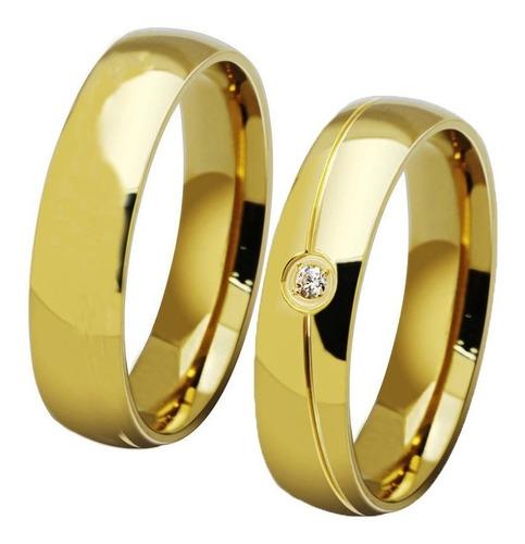 par alianças folheadas a ouro 18k brilhante  frete grátis