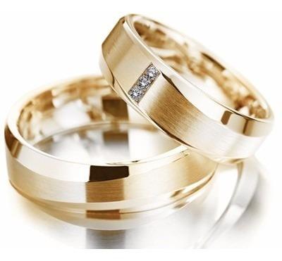 par alianças ouro 18k 18gr 8mm modelo anatômica 3 diamantes