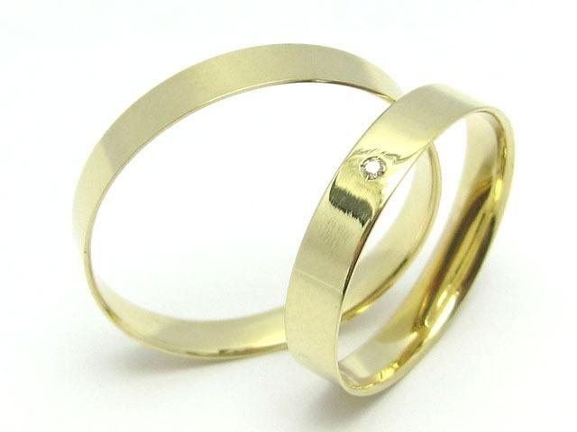 9b4ae8bea924b Par Alianças Ouro 18k 750 Reta 3 Gramas 3mm Diamante Barata - R  604 ...