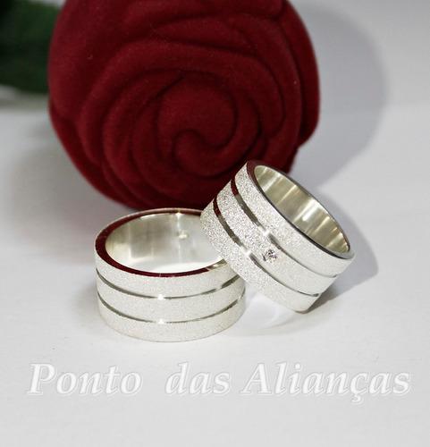 par alianças prata 950 grossa 10mm maravilhosa