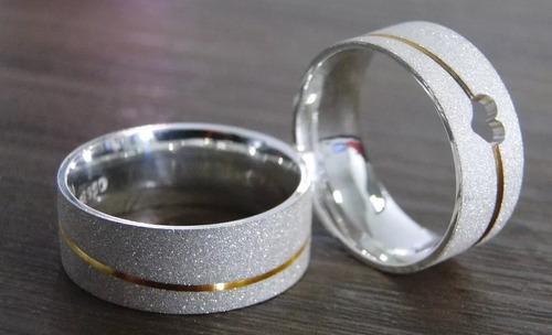 par alianças prata e ouro 18k maciços 8mm modelo maya