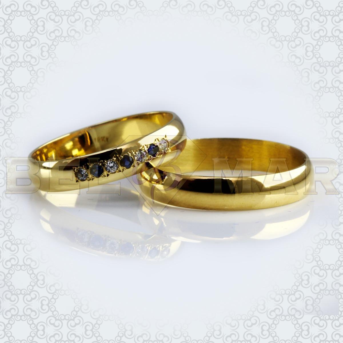 7b7172e4b529 Par Alianzas 1 2 Caña 6 Gramos Oro 18 Kts Con Piedras 4 Mm ...