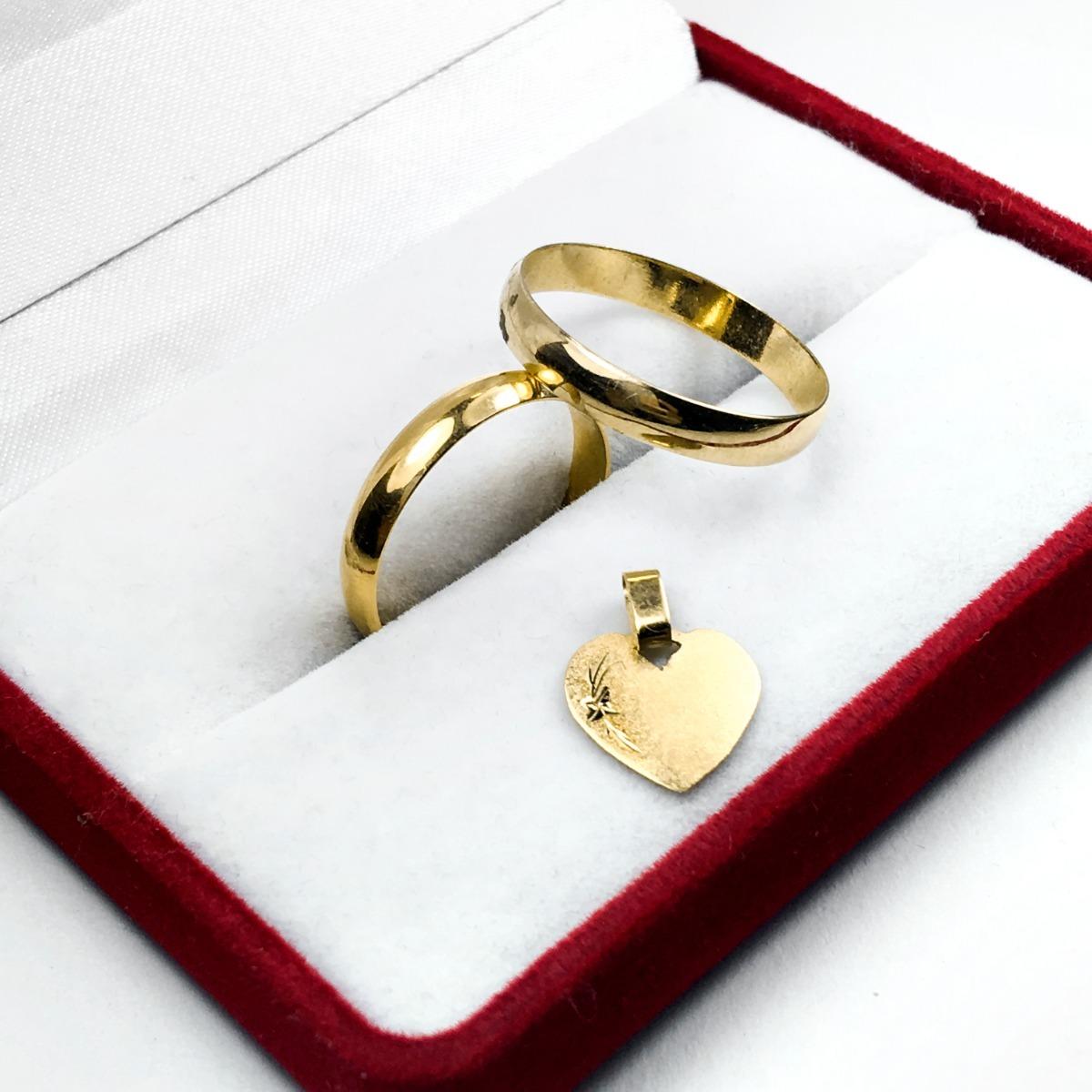 ec1e308248ad Par Alianzas Anillos Oro 18k 4 Gr + Medalla De Regalo Novios ...