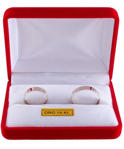 par alianzas oro blanco 18k cinta plana 3 gr casamiento gtia