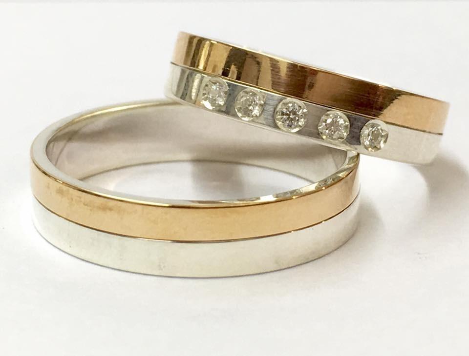 9dc9450e145f par alianzas plata y oro 18k cinta bicolor novios compromiso. Cargando zoom.