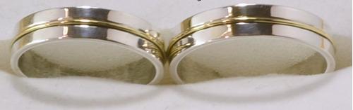 par alianzas plata925 oro 18k cinta grabados estuche gtia