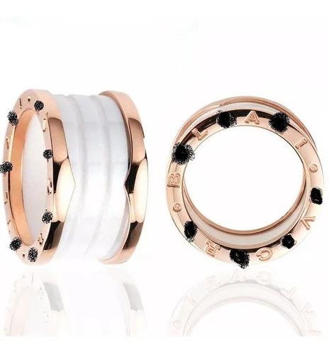 par anel aliança em titânio cerâmica banhado ouro ( oferta)