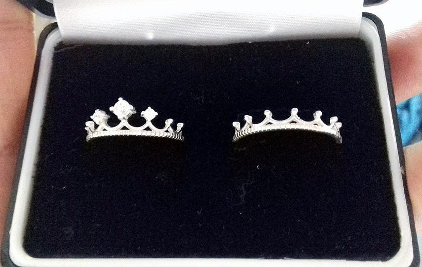 Par Anillos Corona Rey Y Reyna Plata Diamante 925 Pareja