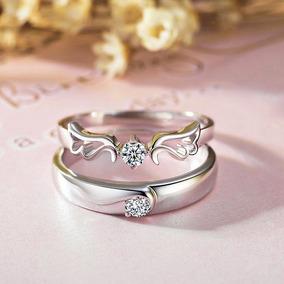 talla 40 107c6 2fd97 Par Anillos Promesa Plata 925 Cristales Amor Parejas Enamora