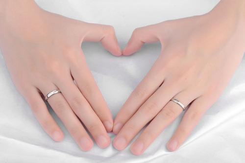 par anillos promesa plata 925 amor parejas novios corazón