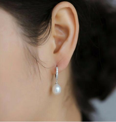 par aretes perlas naturales aaa plata925 y zirconias regalo